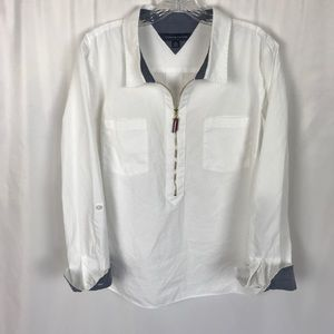 Tommy Hilfiger solid white zip popover blouse